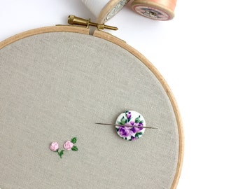 Sewing accessory, needle minder, pin holder, embroidery, cross stitch tool