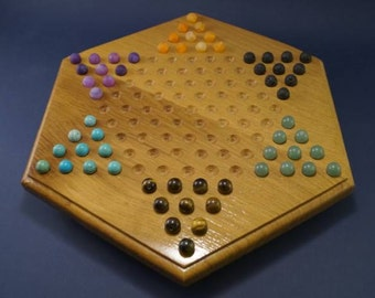 Chinese checkers in oak and stone