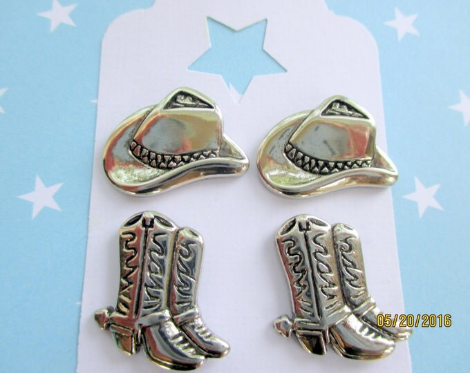 Silver Western Jewelry-Cowboy Hat Earrings-Cowgirl Boot studs-childrens clip on earrings-boot hat post-kids jewelry set-girls cowboy gifts-