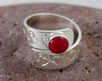 Adjustable Red Coral Silver Heart Ring (Size 6.5)