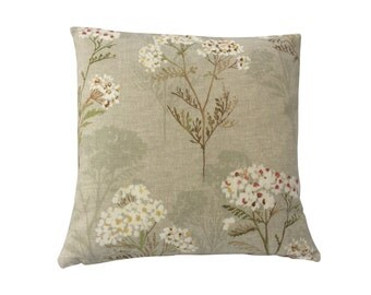 Beautiful Prestigious Yarrow fabric Ambleside collection country cushion cover/ pillow case Cream Yellow beige Red floral/ flowers/ leaf