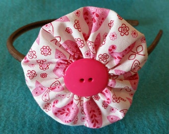 Clearance Pink and white Yoyo headband
