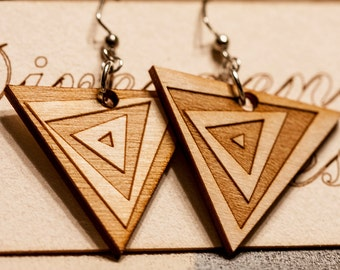 Positive And Negative Spiral Triangle Wood Earrings