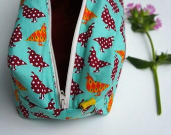 Medium Box Bag, Project Bag or Accessories Bag - Quirky Quails Retro