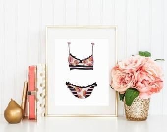 Pink Floral Bikini Art Print