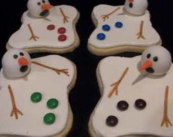 Melting Snowman Decorated Sugar Cookies