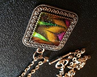 Orange and Purple Art Glass Cabochon Pendant with 20-inch Chain