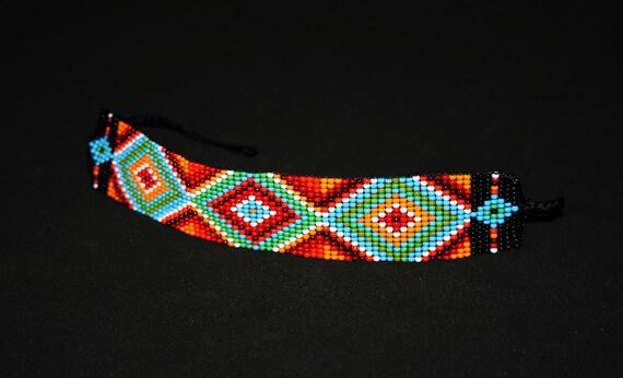 Geometric Bracelet, Huichol Bracelet, Beaded Bracelet, Native American Beadwork, Loom Bracelet, Hippie Bracelet, Huichol Jewelry, Authentic