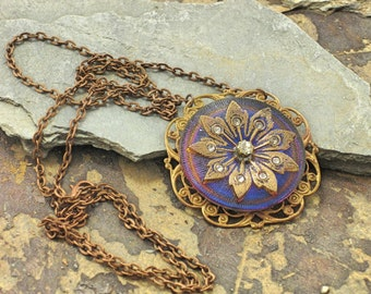 Iridescent Blue Pendant Necklace, Gold Rhinestone Flower Necklace, Filigree Necklace, Brass Necklace, Circle Necklace,Pendant Necklace