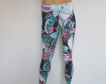 capri yoga pants floral printed extralong  leggings footless tights stamped elastic bamboo viscose workout training pants plus size