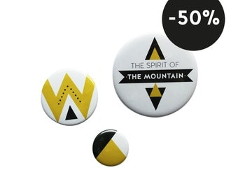 Set of 3 badges - geometric pattern - mustard, black and white
