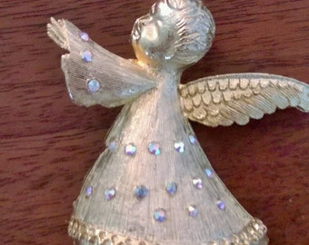 Signed Dodds Angel brooch with aurora borealis rhinestone, Book piece, 1960's vintage Christmas pin