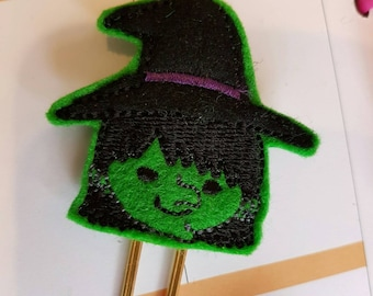 Green Wicked Witch Paper Clip