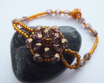 Bronze & Antique Gold Stitched Bracelet