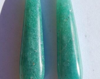 One pair Aventurine pendant stones, Green, sparkles, teardrop, excellent polish, top drilled, 40 x 10mm, C2414