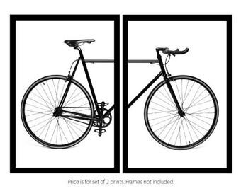 Set of 2 Prints - Bicycle Bike Cycling Monochrome Scandi Art Print - UNFRAMED - WORLDWIDE SHIPPING