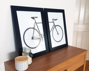 Set of 2 Scandi Vintage Bike Bicycle Art Prints Framed in Black Timber A3 Size