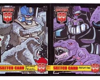 2011 BotCon Optimus Primal vs Megatron Puzzle Sketch Card Transformers Artwork Unique Collectible Card