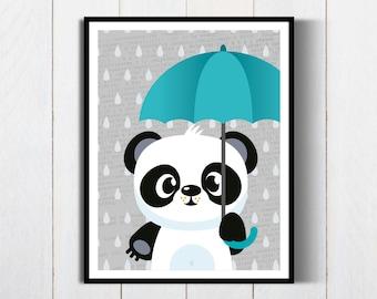 Woodland Nursery|Woodland Animal Print|Panda Printable|Animals Nursery Decor|Forest Animals Art|Wall Art|PandaPoster|Printable Panda