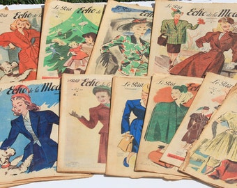 13 Le Petit Echo De la Mode French Fashion and Lifestyle  Magazines Selection of 13 ,1947, Art Deco