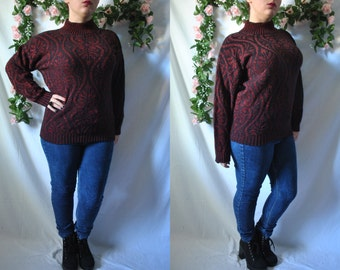 Vintage 80s Sparkly Sweater Red Cozy Sweater Vintage Turtleneck Sweater 80s New Wave Sweater Holiday Sweater Knit Christmas Pullover Sweater