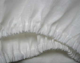 100% Linen Fitted Sheet White Twin XL Full Double Queen King California King Pure Natural Flax Bedding Deep Pocket - USA Sizes
