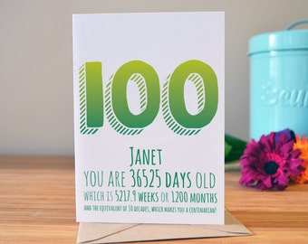 100th birthday card | Milestone birthday card | Personalised greetings card | 100 years old today!