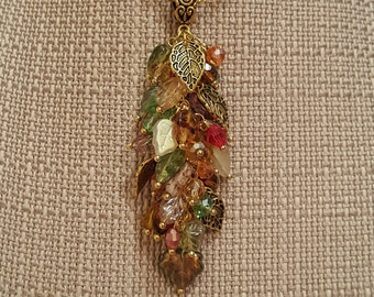 Fall Leaf necklace, Gold Tone