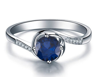 Round Cut Natural Blue Sapphire Engagement Ring 14k White Gold with Diamonds Blue Sapphire Ring September Birthstone