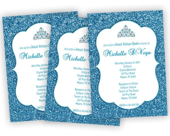 Blue Glitter Sweet 16 Invitations Blue sweet 16 Invitation – Blue Birthday Invitations