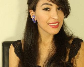 Vintage Triple Blue Square Clip On Earrings