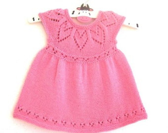Lottie Dress - Knitting Pattern - Baby girl to age 6  - Instant Download PDF