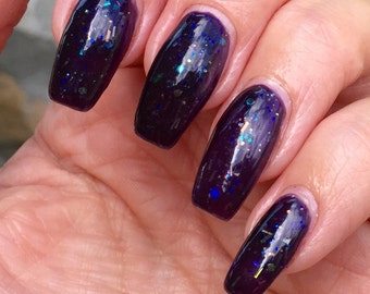 Light and Sound - darkest purple jelly with iridescent glitters nail polish
