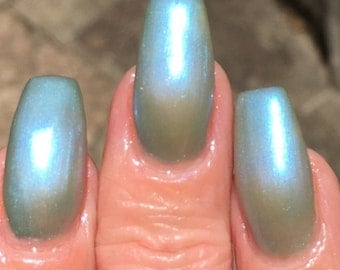 Winter River - blue green duo chrome mail polish