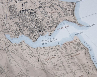 Bainbridge Island Map - Puget Sound, Kitsap, Seattle, Washington, Pacific North West - Custom Quality Cartography