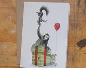 Hand Drawn Birthday Card: Sheep, Sloth, Snail and a slinky Skunk