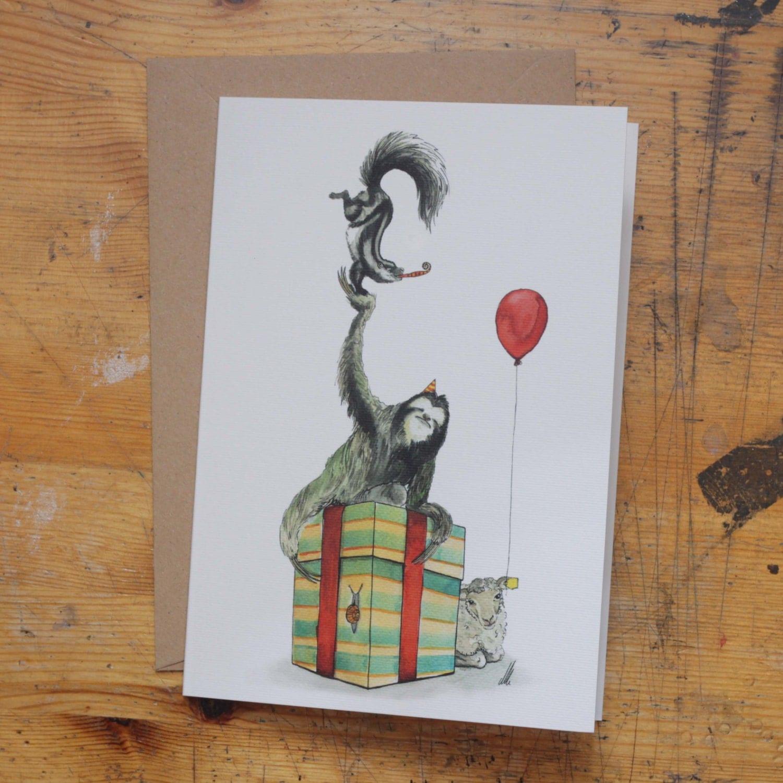 whiskey sloth hand drawn birthday card, Birthday card
