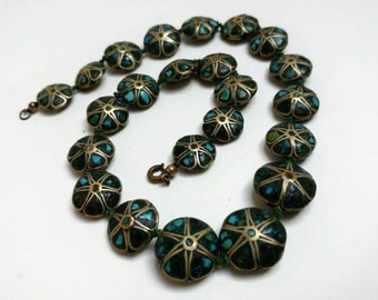 Vintage necklace floral disc beads hippie boho ibiza gypsy
