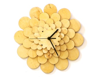 Flower - unique stylish wooden wall clock, wall art