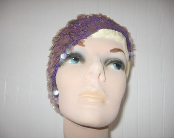SALE! 1960's Purple Knit Shimmery Capulet Hat with Sequins and Beads