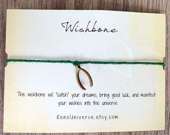 Wishbone Make a Wish Bracelet - made with all natural hemp cord