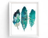 Art Prints, Printable Turquoise  Feathers