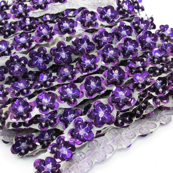 36 sequin beaded fringe purple floral button lamp by for Purple beaded lamp shade