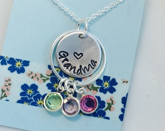 Grandma Necklace, Grandmother Necklace, Grandmother Birthstone Necklace, Personalized Grandma Necklace, Hand Stamped Jewelry, Family