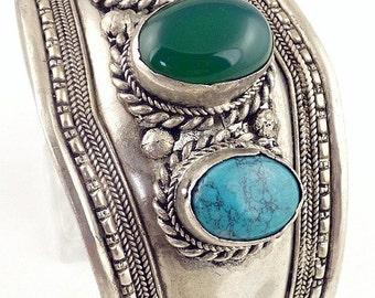 Turquoise onyx jewelry Tibetan BRACELET Buddhist jewelry, natural stone bracelet, ref 03.5 Green
