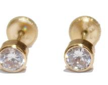 14K Yellow Gold Bezel Stud 4mm CZ Screw Back Earring Baby Earrings  Kids Earring