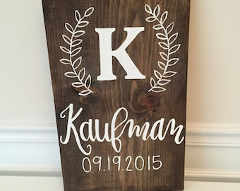 Family Name Sign, Monogram Sign, Last Name Sign, Name Sign, Wood Name Sign, Wedding Gift, Personalized Sign, Initial Sign, Wood Sign