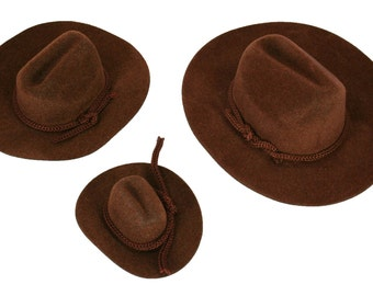 12 Mini BROWN Felt COWBOY HAT Western Wedding Party Favor Choose Size