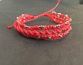 Stackable wax bracelets macrame string bracelet. Handmade thread bracelet. Bracelet with silver beads. polyester thread linhaista thread