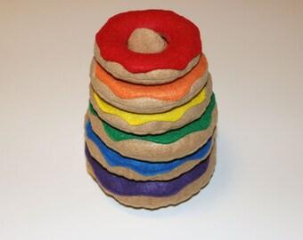Rainbow Donut Stacking Toy (felt toddler toy)